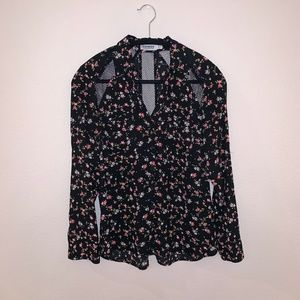 Express Floral Print Button Down Blouse